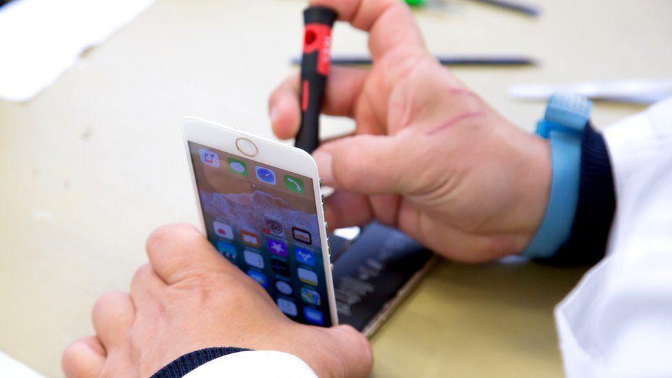 Phone being refurbished