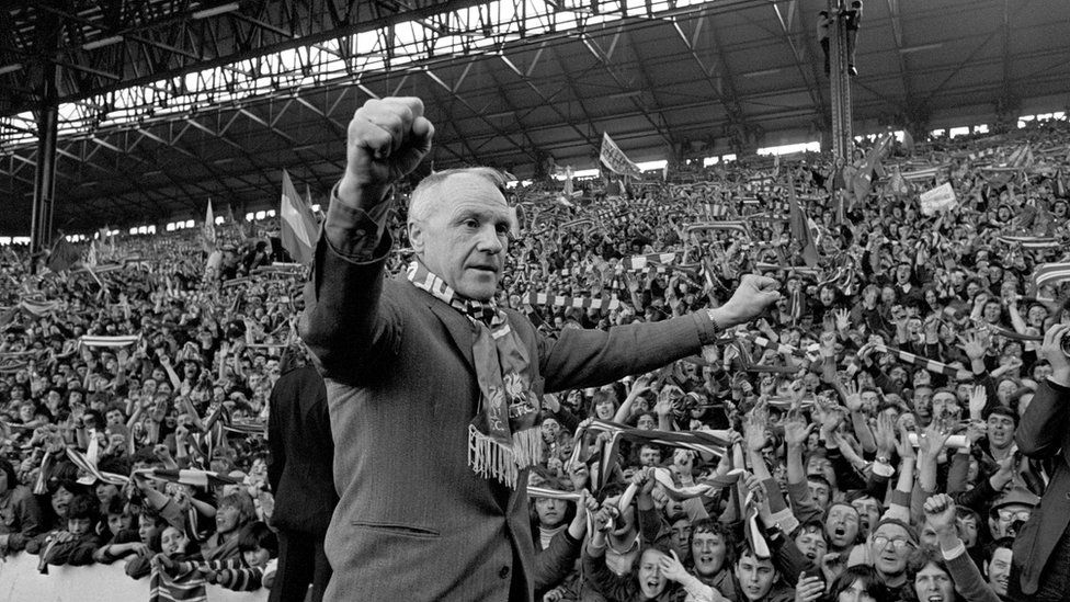 Bill Shankly in front of the Kop after Liverpool became league champions in 1973