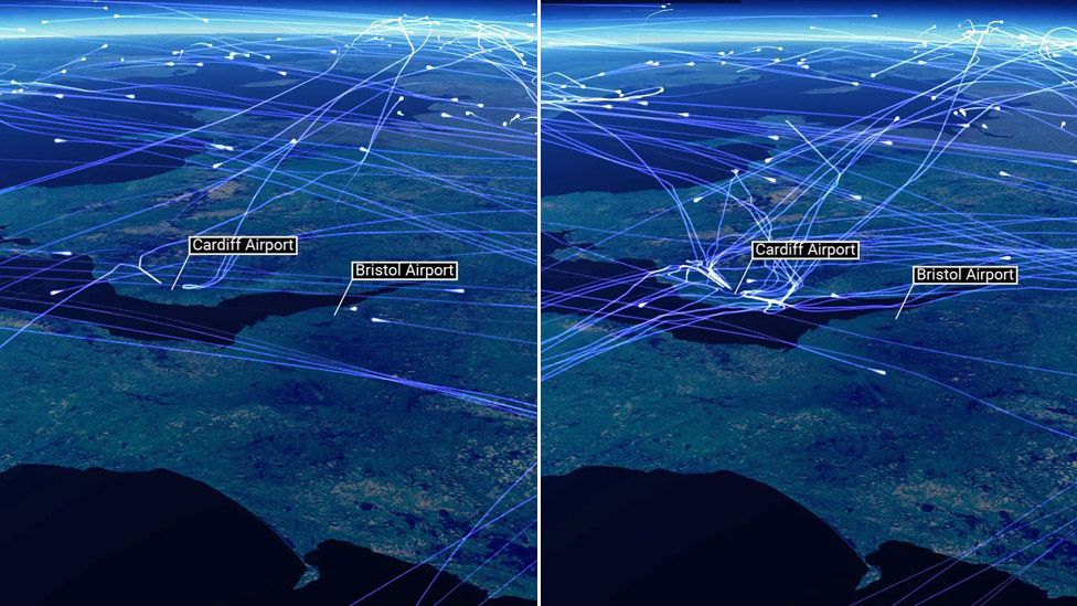 Flights into Cardiff on Friday 26 May (left) compared to Friday 2 June (right) as captured by NATS, air traffic control