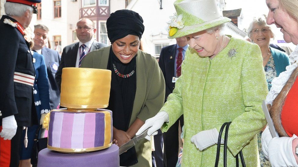 The Queen with Bake Off champion Nadiya Hussain