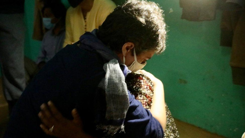 Priyanka Gandhi Vadra with the victim's mother