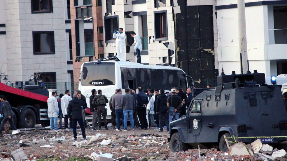 The aftermath of a bomb blast in the Turkish city of Diyarbakir