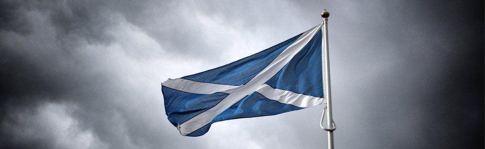 Scottish flag flying on the border with England on September 14, 2014 in Carter Bar, Scotland.