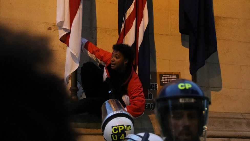 A close-up of the protester