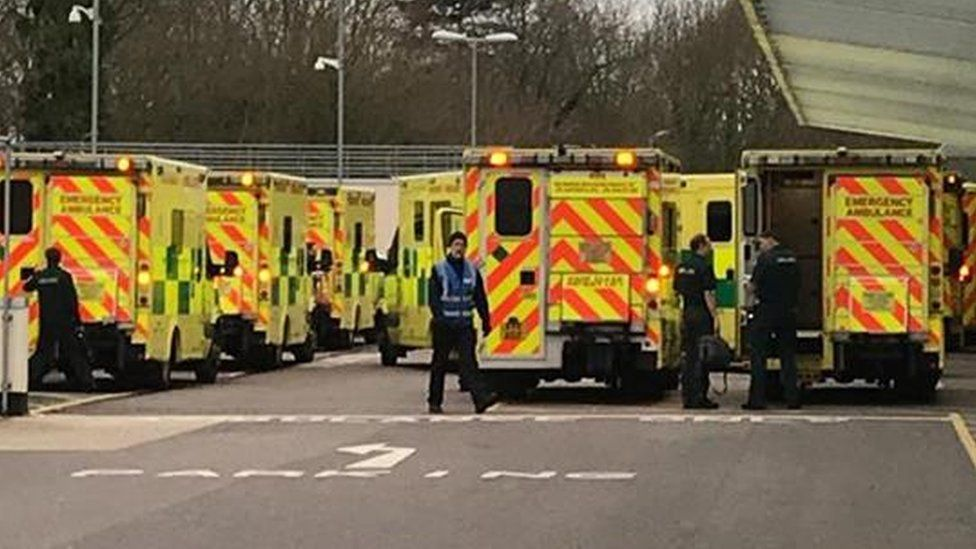 Ambulances queuing outside Broomfield Hospital in Essex