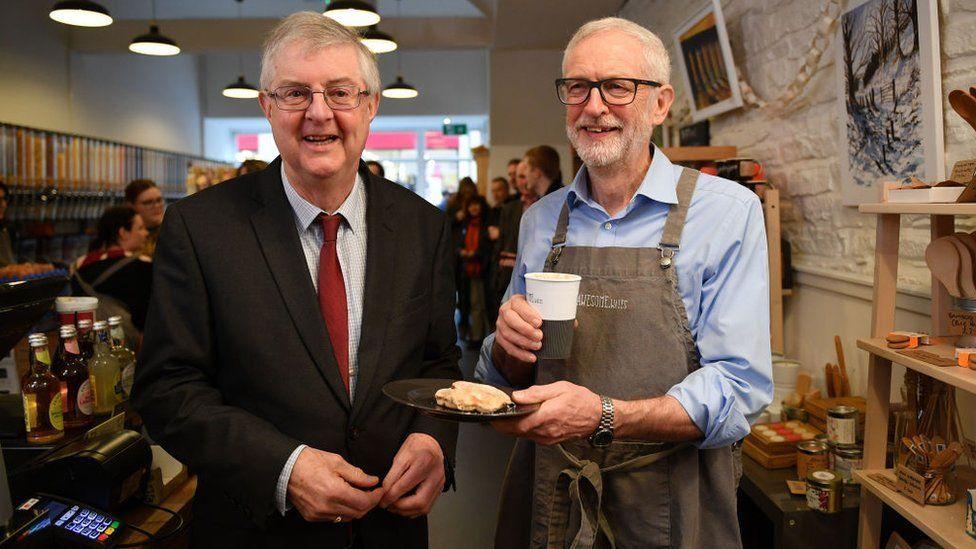Mark Drakeford and Jeremy Corbyn