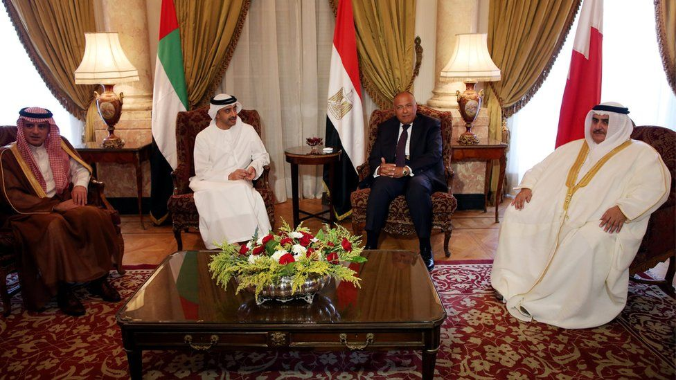 Foreign ministers of (from left) Saudi Arabia, UAE, Egypt, and Bahrain sit at a meeting to discuss the diplomatic situation with Qatar, in Cairo, Egypt (July 5, 2017)