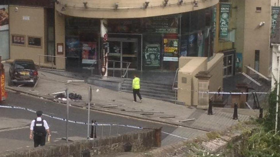 It is believed the lorry was in collision with another vehicle and flattened a number of bollards outside the Millennium Forum