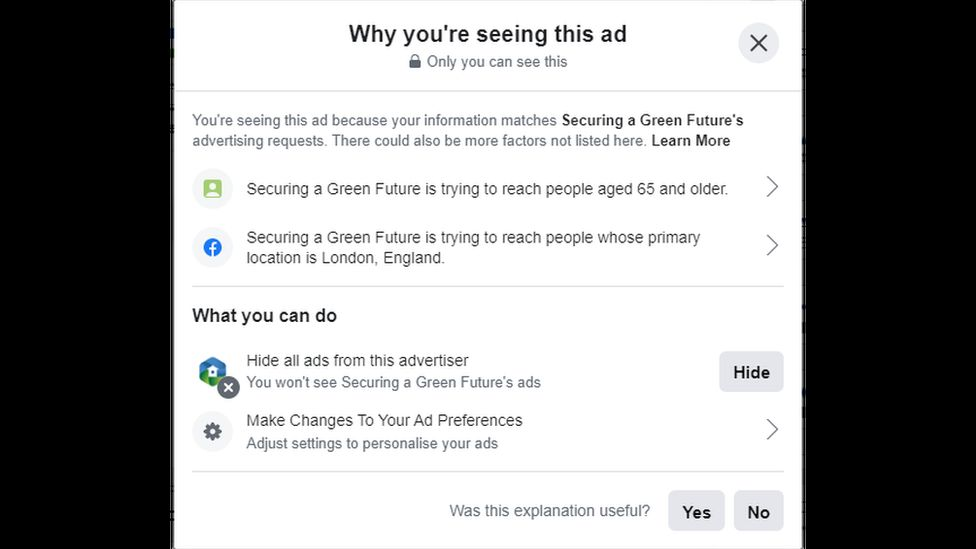 Facebook says the ads are targeted at people over 65