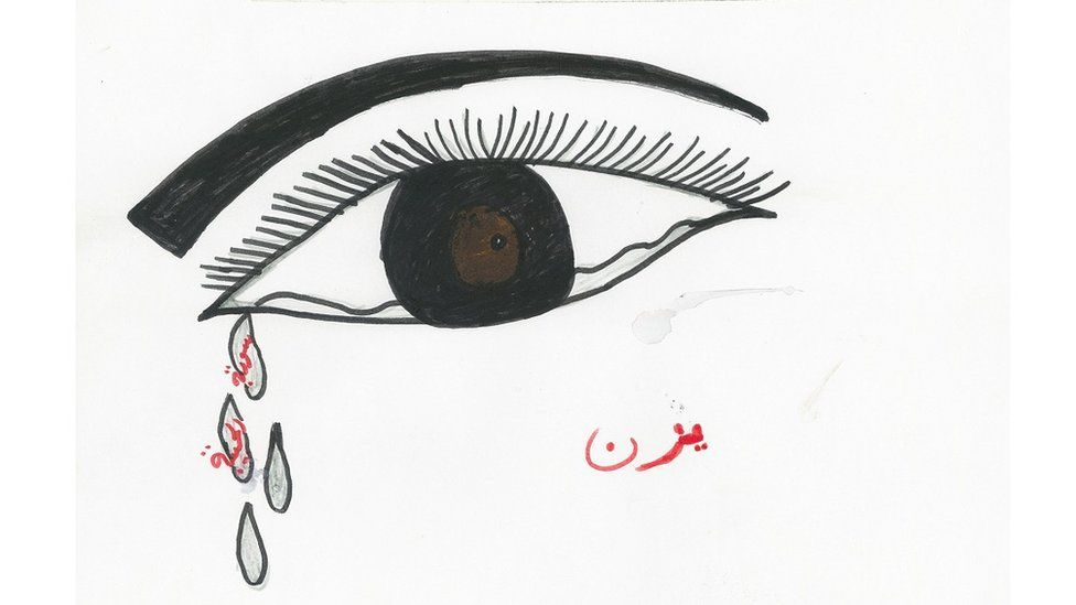 "The drawing of a Syrian refugee boy showing an eye with tears falling. In tears it is written: ""Beautiful Syria""."