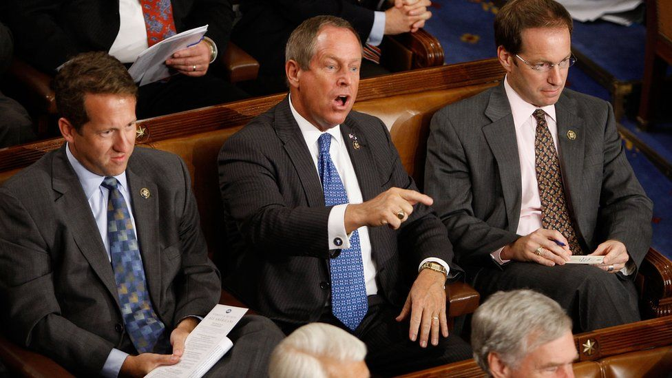 """Republican Congressman Joe Wilson shouted """"You lie"""" at Mr Obama during his remarks in 2009"""