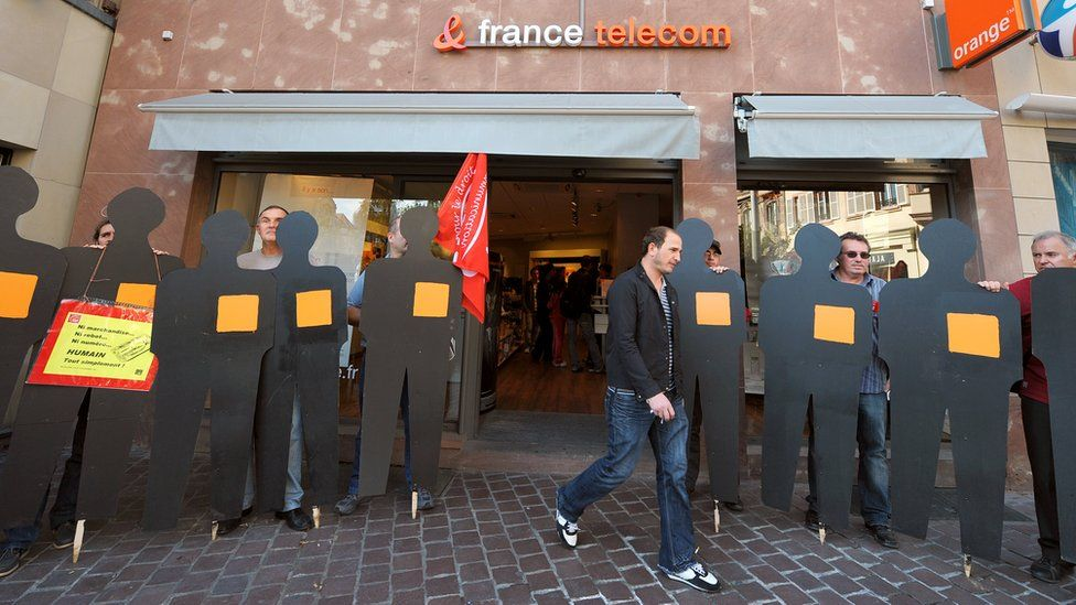 France Telecom workers protest in 2009 against the spate of suicides