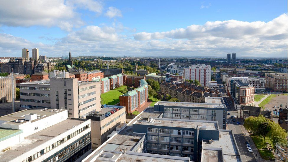 Looking over Glasgow and the campus of University of Strathclyde