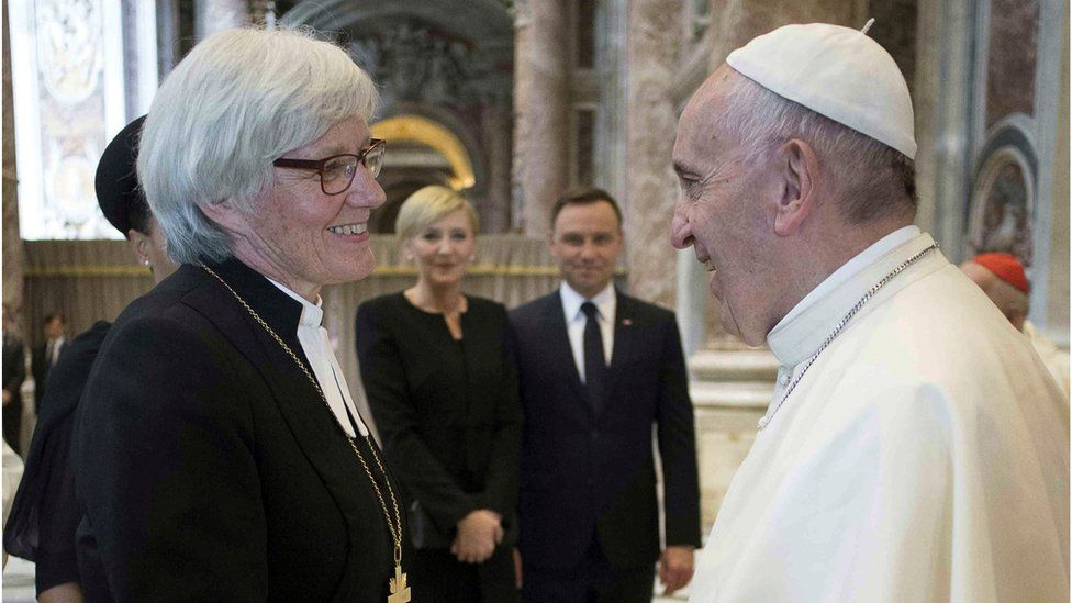 Pope Francis and Sweden's archbishop, Antje Jackelen.