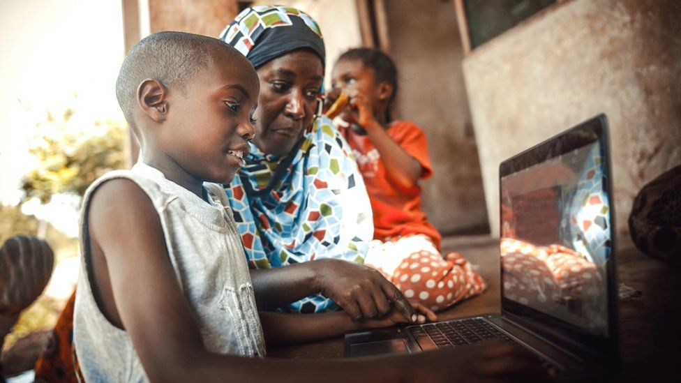A child using a computer in South Africa
