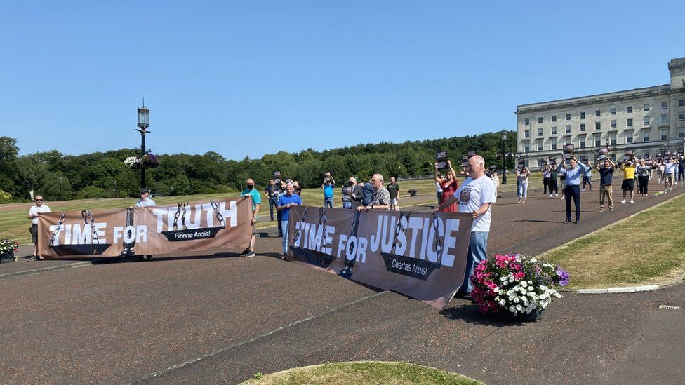 Some victims campaigners and Sinn Féin assembly members gathered at Stormont