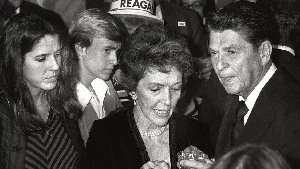 Patti Davis, left, Nancy Reagan, centre, and Ronald Reagan, right