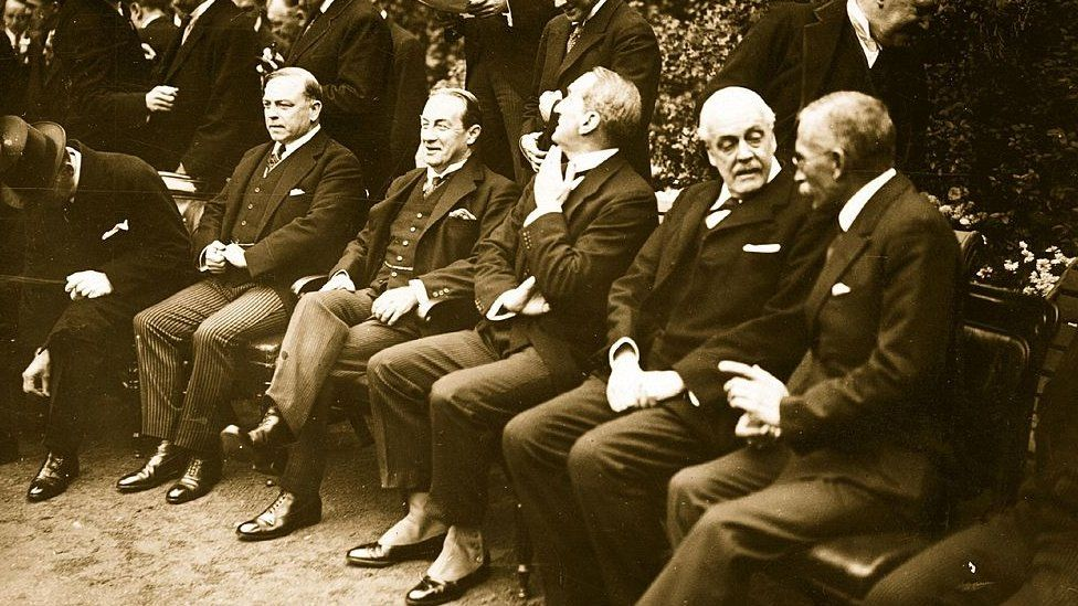 William Lyon MacKenzie King (far left) at the Imperial Conference