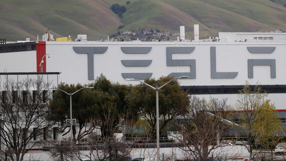 """A view of Tesla Inc""""s U.S. vehicle factory in Fremont, California"""