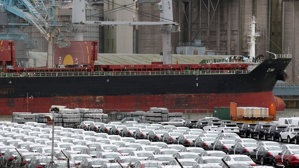 Cars waiting for export from UK