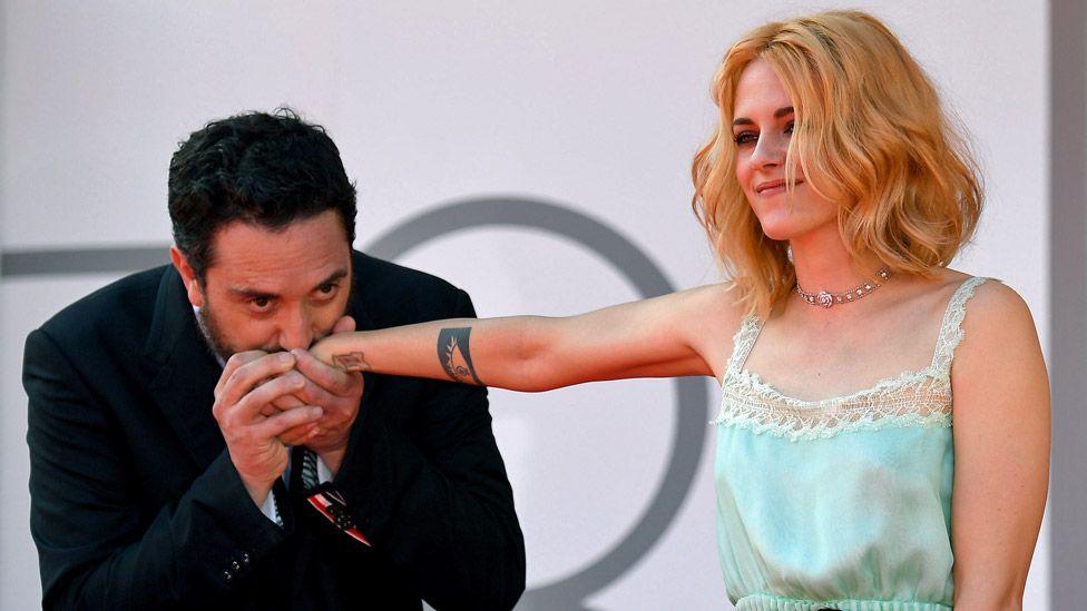 Pablo Larraín and Kristen Stewart at the Venice Film Festival