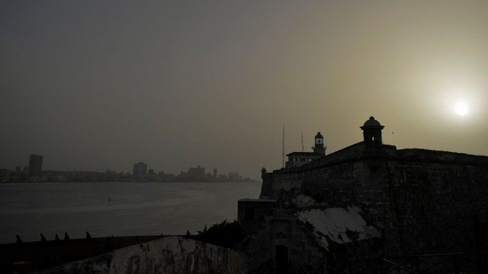 View of Morro Castle as a vast cloud of Sahara dust blankets the city of Havana on June 24, 2020