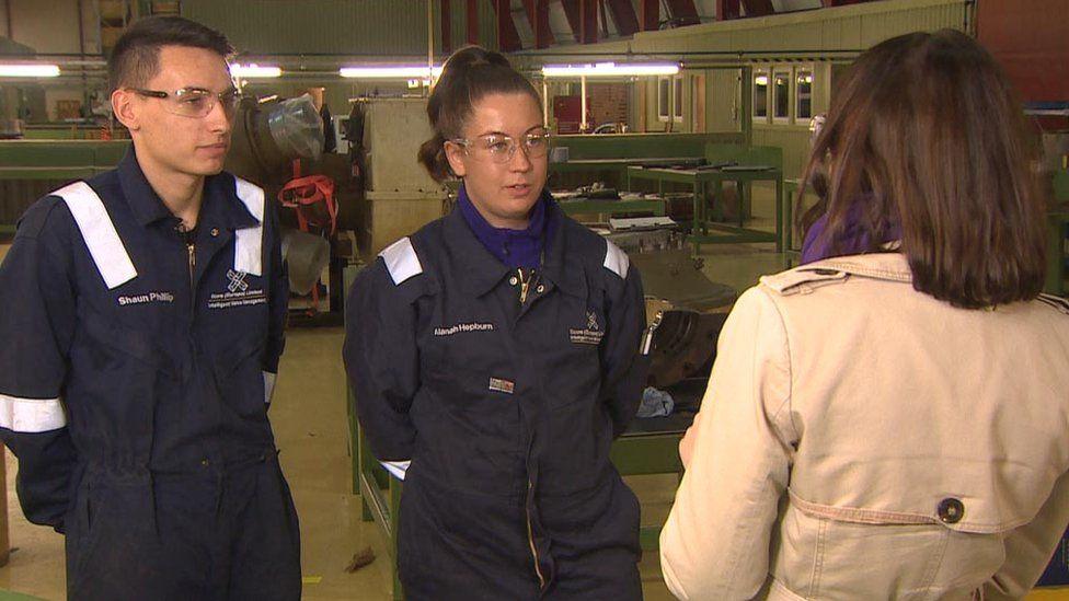 Shaun Philip and Alanah Hepburn speaking to BBC Scotland's Rachel Bell