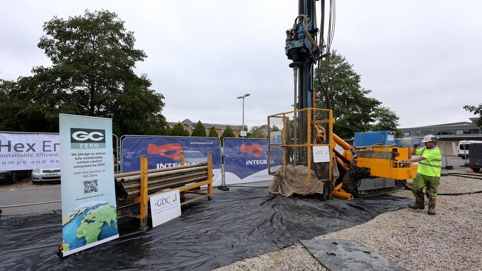 Engineers drill bore holes at the campus