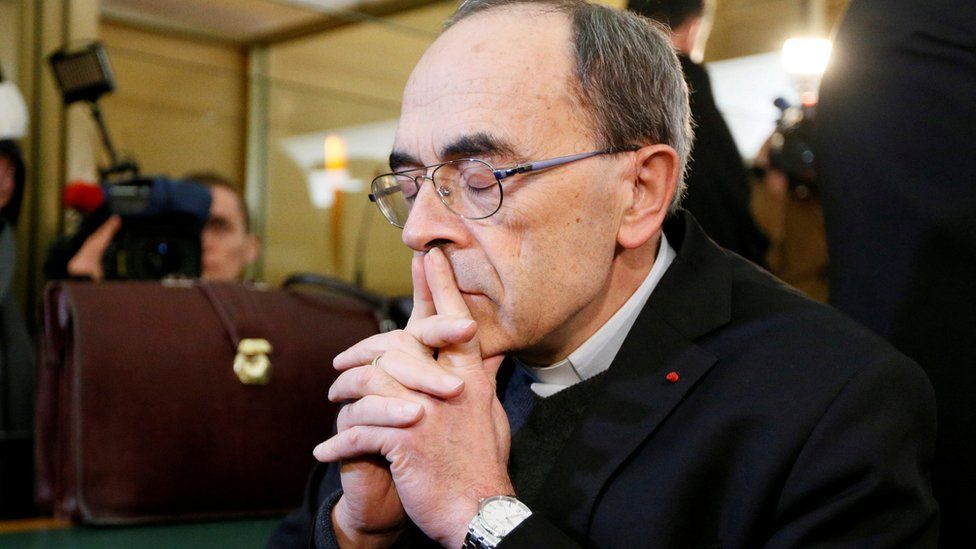 Cardinal Philippe Barbarin, Archbishop of Lyon, arrives to attend his trial, charged with failing to act on historical allegations of sexual abuse of boy scouts by a priest in his diocese