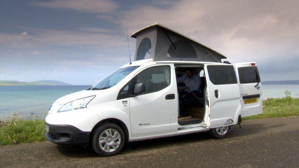 electric camper van on Orkney
