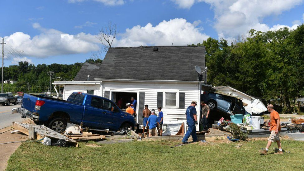 Image shows a damaged house in Waverly