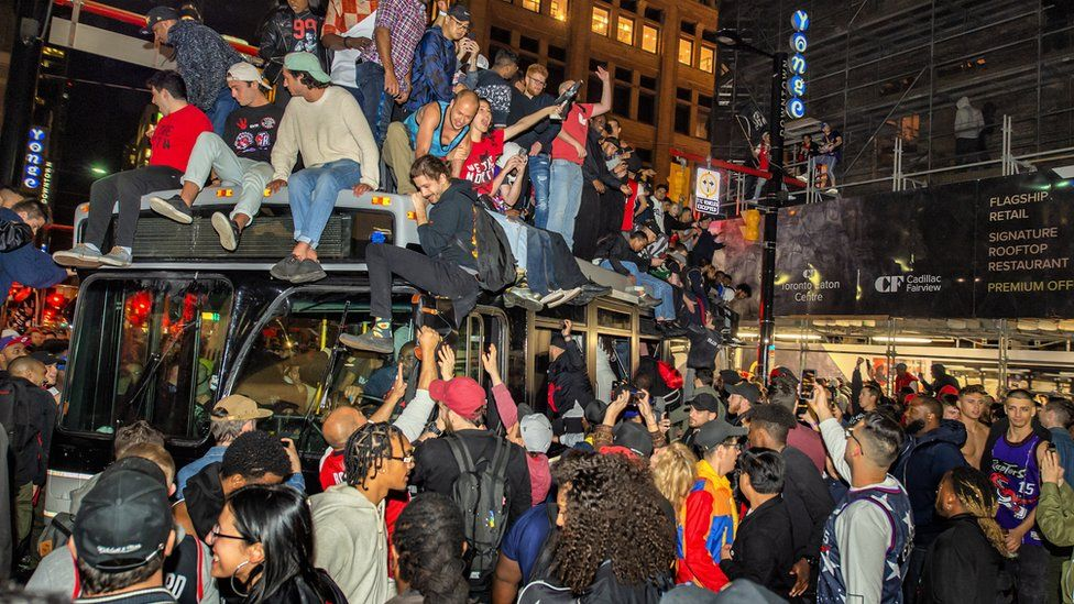 Toronto Raptors fans celebrate after the Raptors win their first NBA Championship