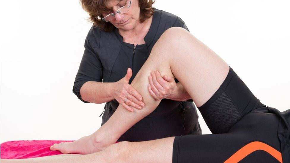 A patient receiving physiotherapy