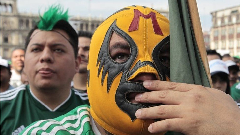 Mexican fans meet to watch the transmission of the 2018 World Cup match between Mexico and Sweden, in Mexico City, Mexico, 27 June 2018.