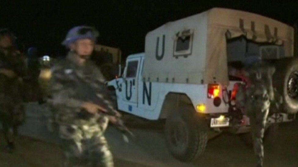 Chinese UN peacekeepers seen leaving a camp in South Sudan as violence erupts - 8 July 2016