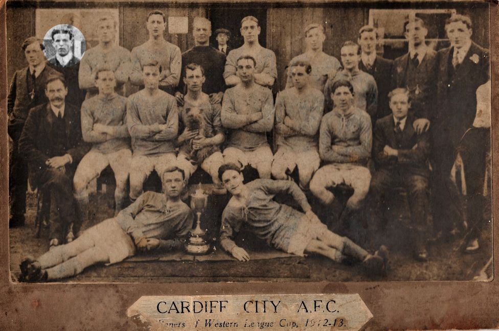 Tom Witts in a Cardiff City team line up in 1913