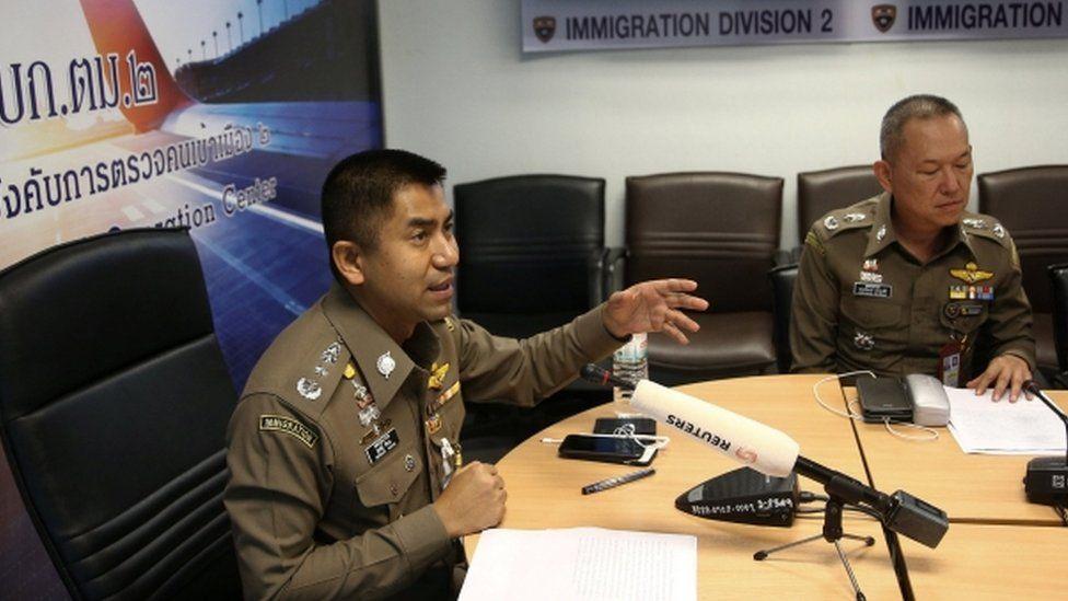 Immigration chief Maj-Gen Surachate Hakparn address media at Suvarnabhumi Airport
