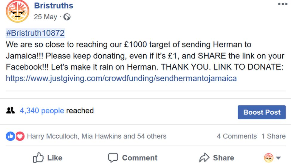 A Facebook post about the crowdfunding target