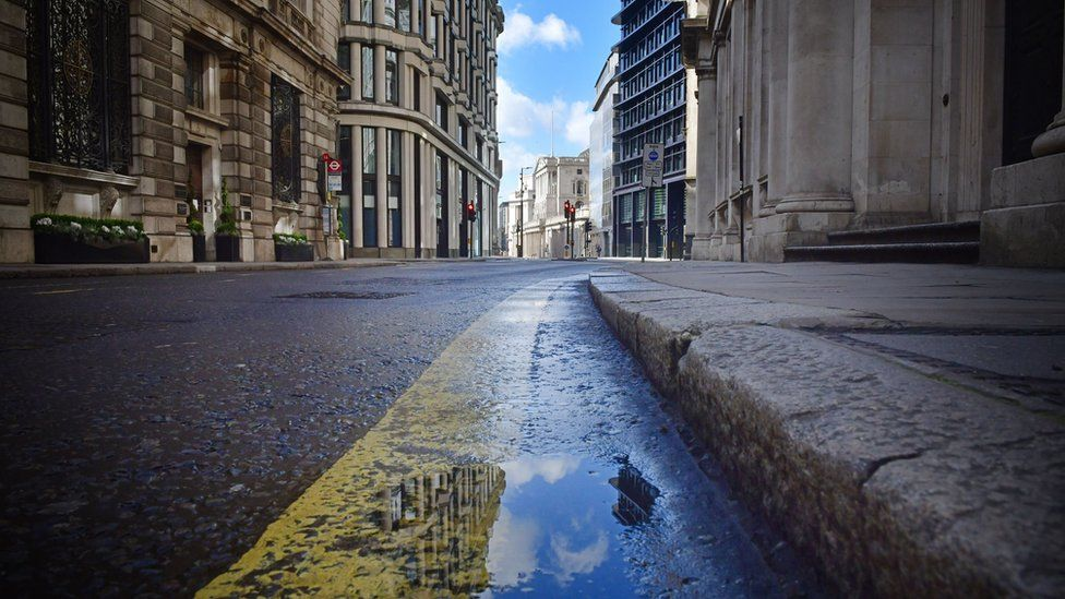 Deserted streets in the City of London