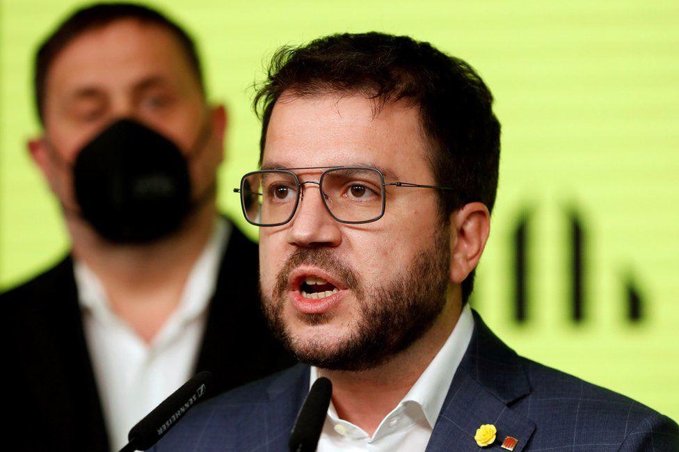 Pere Aragonès in Barcelona, 14 February