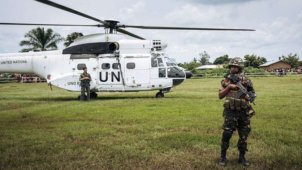 The helicopter of the UN secretary-general lands prior to a visit to an Ebola treatment centre in Mangina, North Kivu province, on 1 September, 2019
