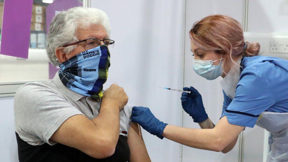 A vaccination centre in Glasgow