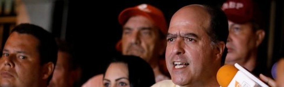 Julio Borges (right), President of the National Assembly and deputy of the Venezuelan coalition of opposition parties (MUD), talks to the media during a news conference in Caracas, Venezuela May 1, 2017.