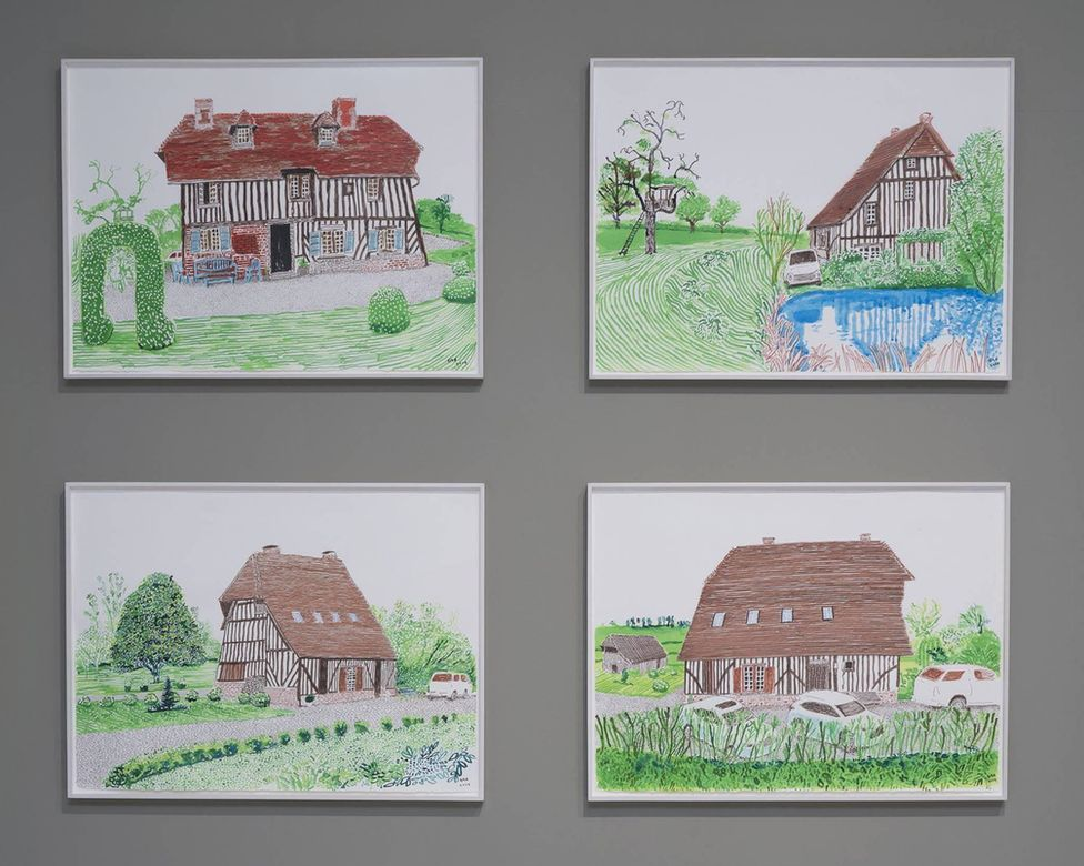 David Hockney's sketches of his house in Normandy