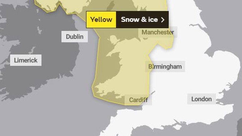 Map showing the Met Office yellow warning for snow and ice which runs from Tuesday at 20:00 GMT until 10:00 on Wednesday