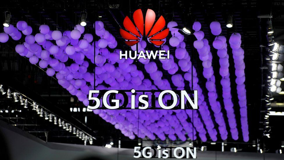 Huawei 5G sign at trade show