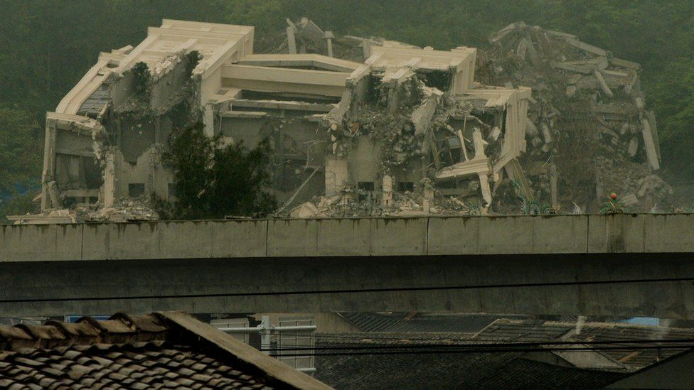 This image taken on 30 April 2014 shows a Christian church in the town of Oubei, outside the city of Wenzhou that Chinese authorities have demolished