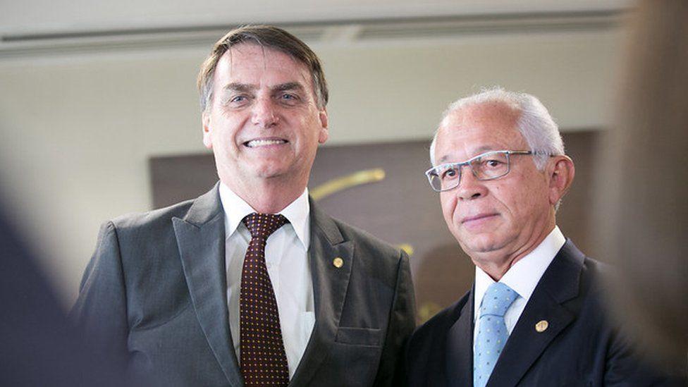 O presidente Jair Bolsonaro e o presidente do TST, ministro Brito Pereira