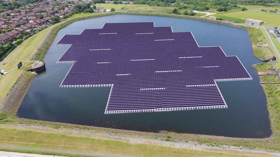 artist's impression of solar panels on reservoir