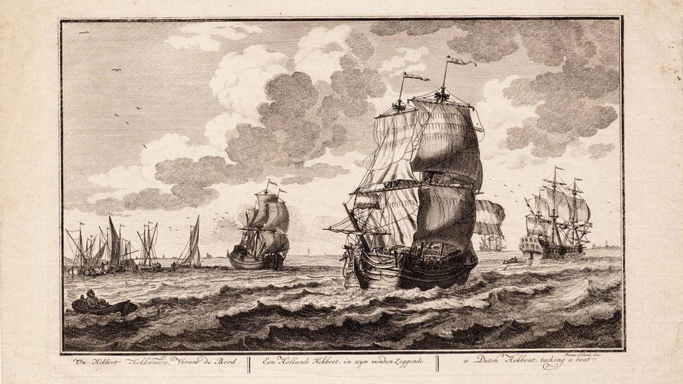 A drawing of a ship similar to the Rooswijk – a Dutch 'hekboot' by Adolf van der Laan in 1716.